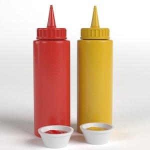 3D ketchup mustard bottles