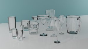 set martini glass 3D