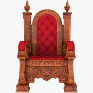 wooden throne 3D model