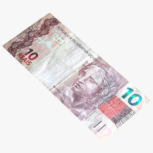 10 reais billet 3D model