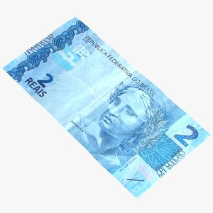3D 2 reais billet model