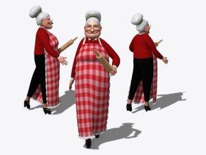 rigged grandma old woman 3D model