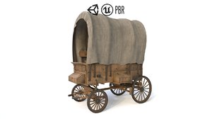 3D old western covered wagon model