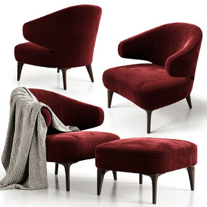 aston armchair minotti 2 3D model