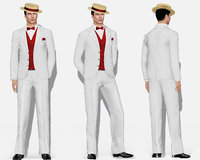 Men's Gatsby Full Stripe Formal Suit Hat and Shoes