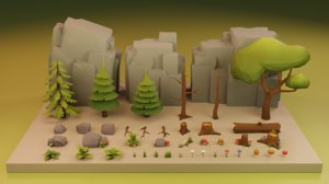 3D assets nature trees rocks
