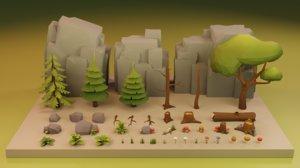 3D assets nature trees rocks
