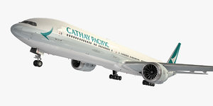 3D boeing 777-9 aircraft cathay pacific model