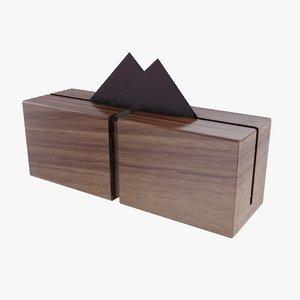 3D wooden napkin holder model