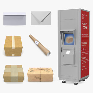 mail packages postomat post 3D model
