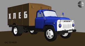 gaz 53 truck hleb 3D model