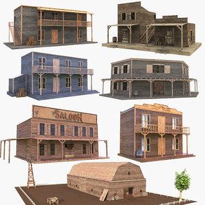 3D western buildings house 2