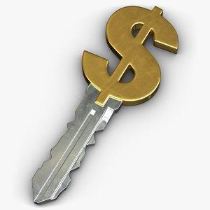 dollar key 3D model