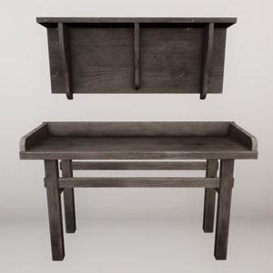 3D set table shelf model