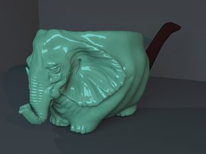 3D model smoking pipe elephant