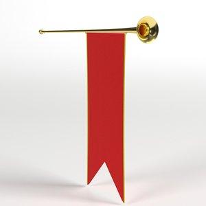 3D medieval heraldic trumpet banner model