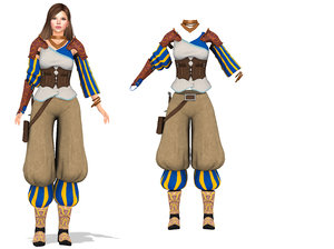3D medieval roleplay cosplay wizard model