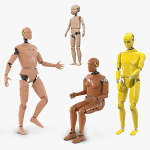 3D model rigged crash test dummies