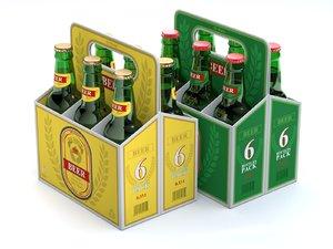3D beer cardboard pack model