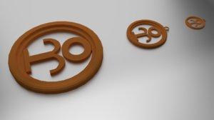 3D coaster pendant model