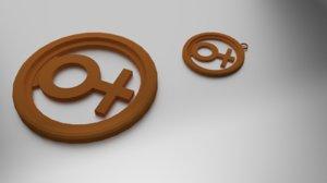 3D model coaster pendant