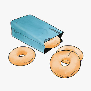 stylized bag donuts 3D model