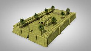 3D old egyptian monastery church
