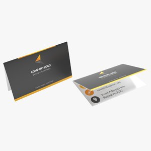 folded portrait business card 3D model