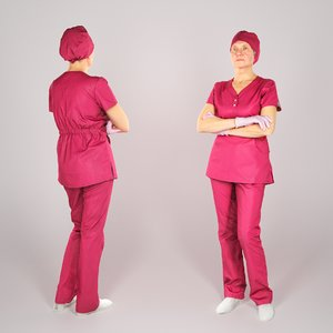 adult woman uniform surgical 3D