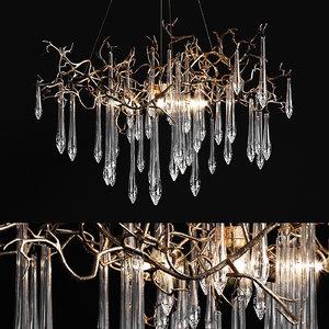 3D chandelier serip aqua