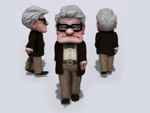 rigged granpa old man model