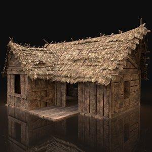 3D gen aaa thatched wooden