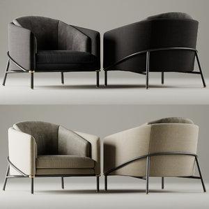 armchair fil noir minotti 3D model