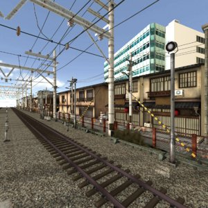 3D model scene japan city railway
