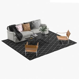 3D realistic livingroom furniture model
