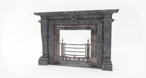 3D model jamb antique fireplace
