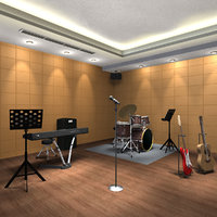 3D band music practice room model