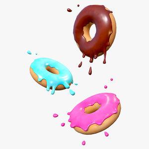stylized glazed donuts 3D
