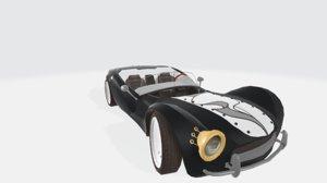 3D black white tuxedo car model