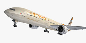 boeing 777-9 aircraft etihad 3D model