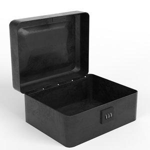 metallic box combination lock 3D