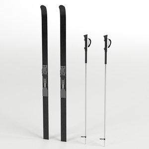 3D nordic skis poles