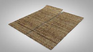 3D old carpet mat palm
