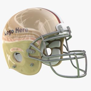 3D gold football helmet