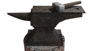 3D medieval blacksmith hammer anvil model