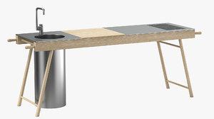 3D stip critter kitchen unit model