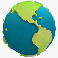 3D model stylized earth