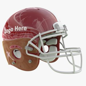3D model red football helmet