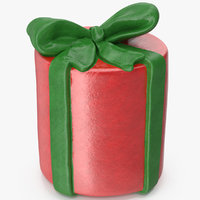 3D model gift box cylindrical 2