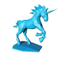 unicorn low poly pepakura printable